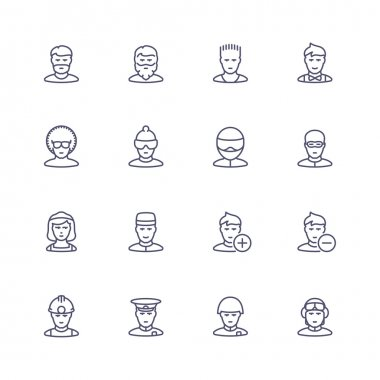 People personality and profession line icons