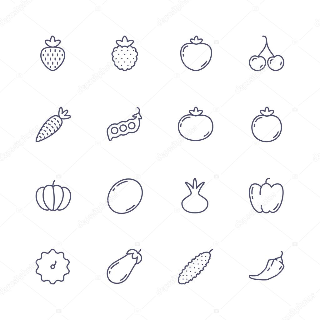 Fruits and vegetables line icons