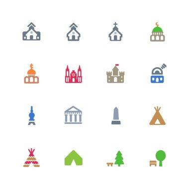 Cultural buildings icons set
