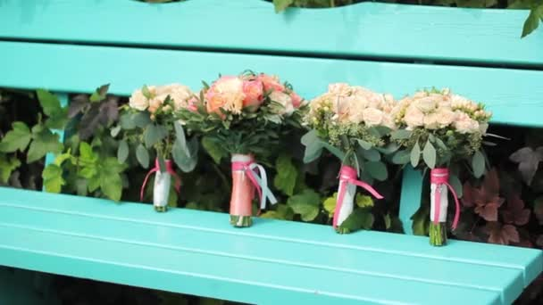 wedding bouquet on the bench