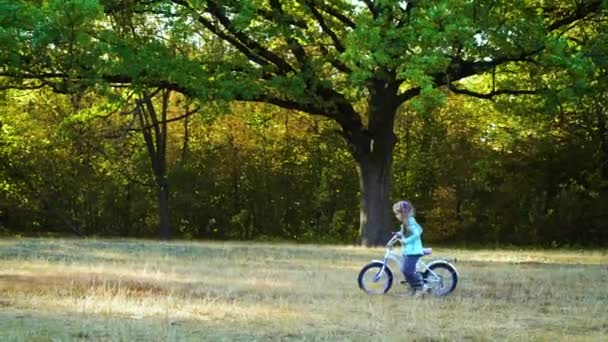 Little girl walking with bicycle in park
