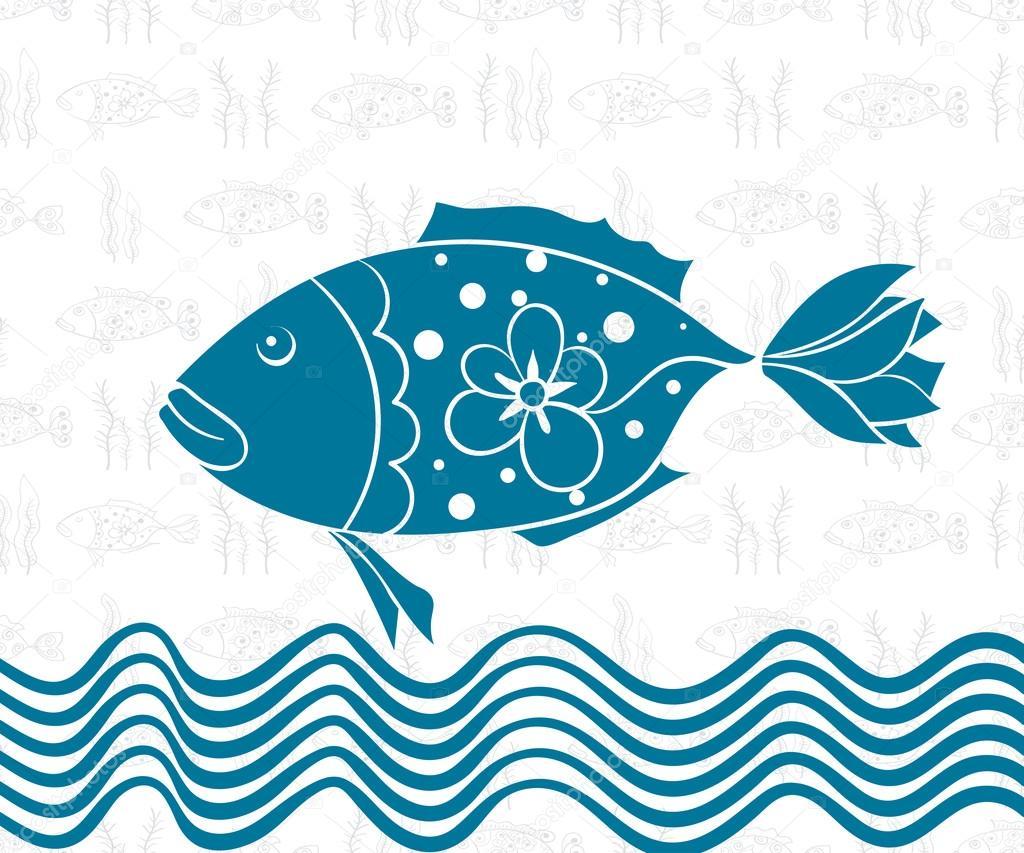 Postcard Sea Theme Seamless Background of Fish, Wave, Wallpaper,