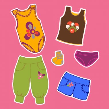 Set Of Stickers Of Children's Clothing, Shorts, Trousers, Shirt,