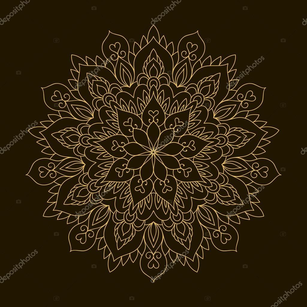 goldenen mandala. kreisförmige schablone ornament — stockvektor