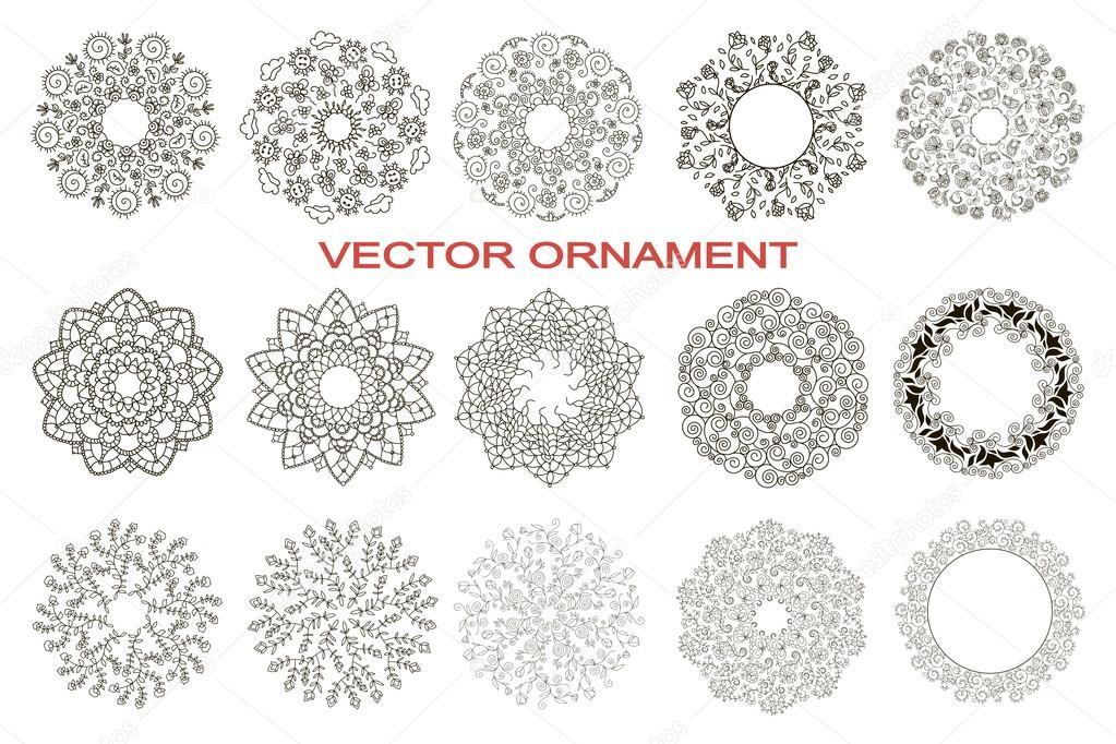 Satz von kreisförmigen Ornamenten, Blume, häkeln Baby Muster ...