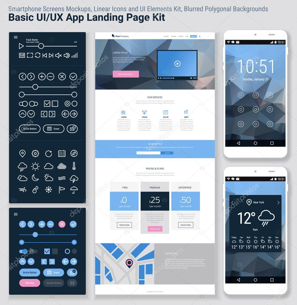 Aplicaciones móviles de la interfaz de usuario de diseño plano ...