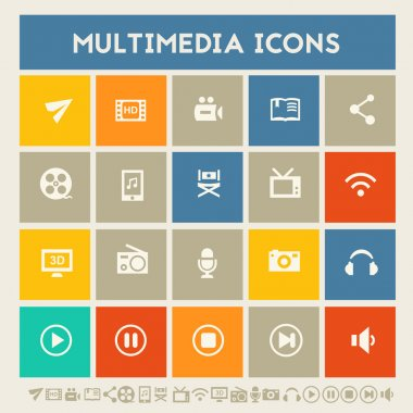 Multimedia icons. Multicolored buttons