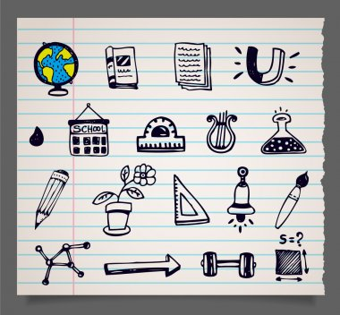 Doodle vector school items icons