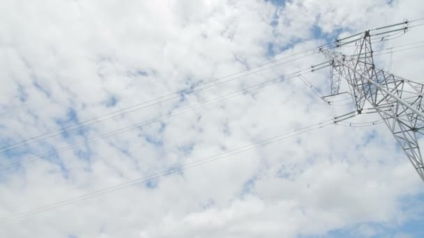 High voltage tower with sky background. Low angle shot.