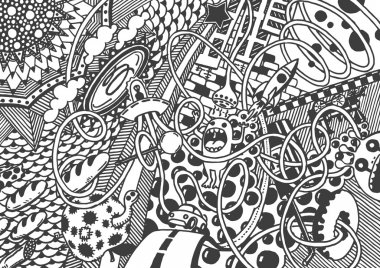 Crazy world, Art. Drawing by hand.