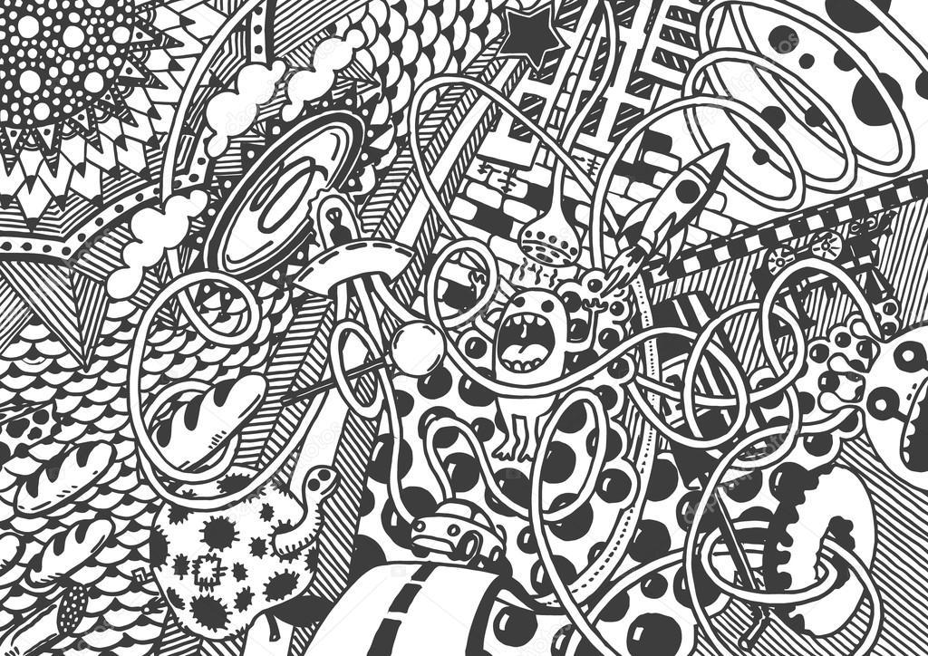 Mundo loco, arte. Dibujo a mano — Archivo Imágenes Vectoriales ...
