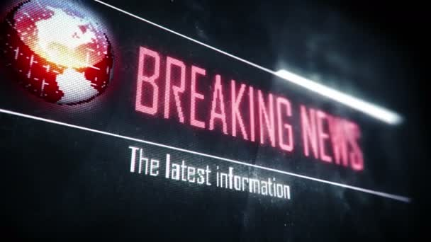 Breaking news, latest information screen text, system message, notification