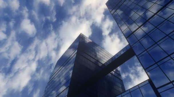 Wolkenkratzer vor blauem Himmel, Wolkenlücke spiegelt sich in allen Glasgebäuden