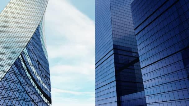 Drei alle Glas-Wolkenkratzer gegen blauen Himmel, Architekturprojekt, Planung
