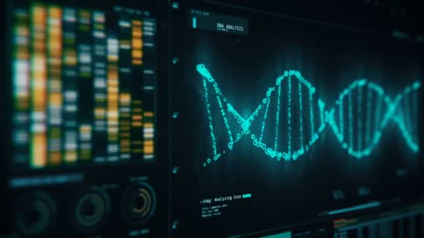 DNA chain rotating on screen, forensic analysis of structure, genetic research