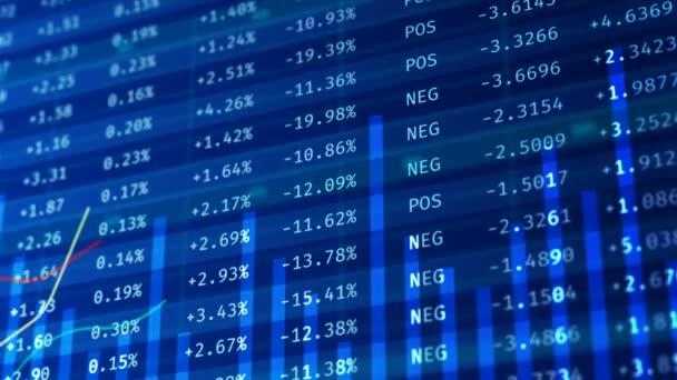 Indexy akciových trhů, finanční křivek na obrazovce, reálném čase statistiky