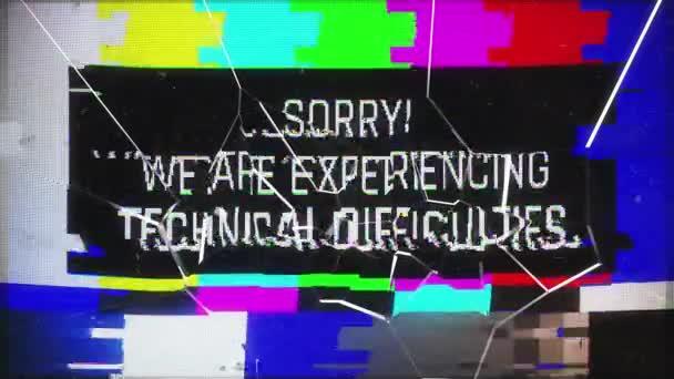 Technikai nehézségek figyelmeztető üzenet törött TV képernyőn, poszt-apokaliptikus. Rendszerszintű vészhelyzeti értesítés