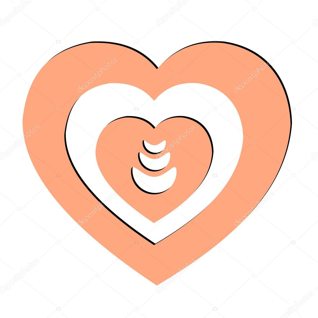 Pink heart with fire inside vector icon, badge,sticker,tag