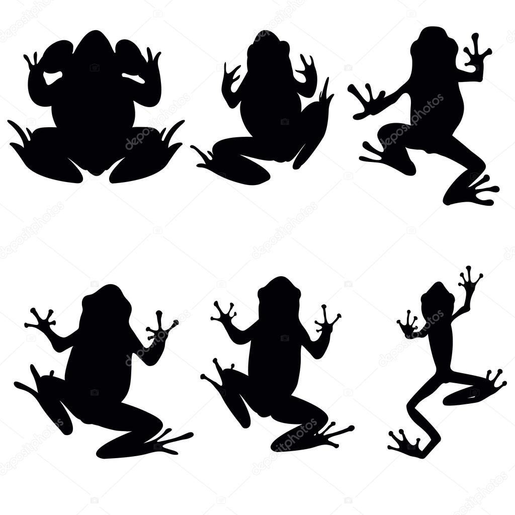 vector frogs silhouette on the white background stock vector rh depositphotos com tree frog silhouette vector Mushrooms Silhouette Vector