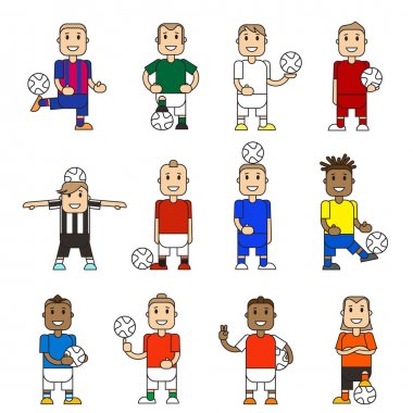 Set character soccer players football team standing
