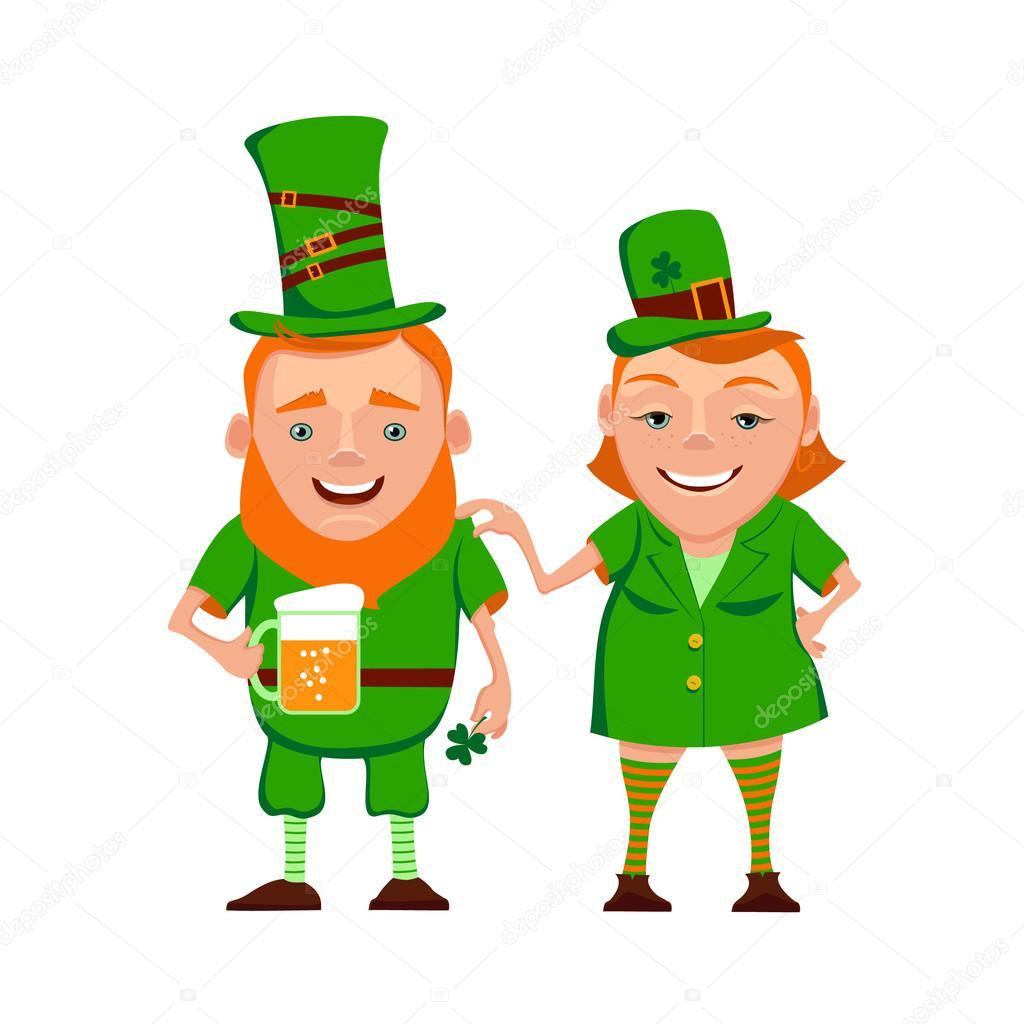 Vector illustration of two happy cartoon leprechauns ...