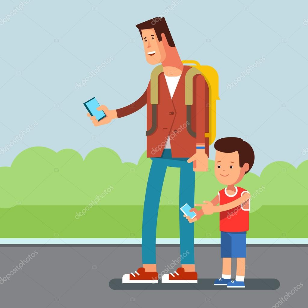 Vector flat illustration of young urban people with a phone