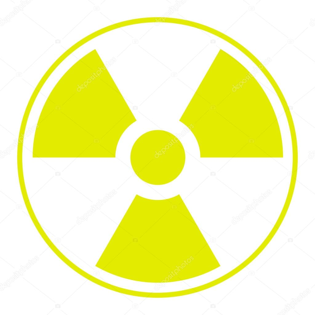 Symbol Of Radioactive Contamination With Highlights On A White