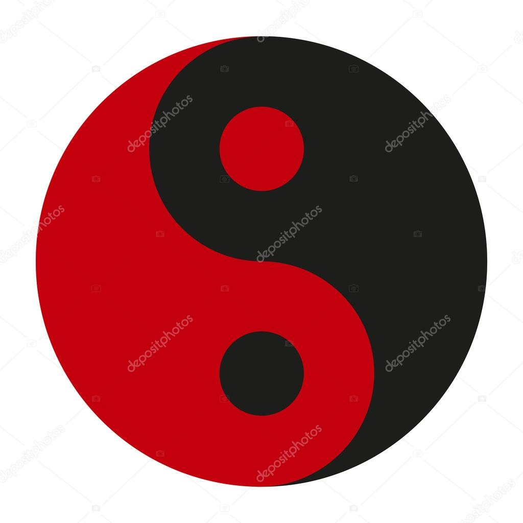 yin yang red black icon on a white background stylish vector rh depositphotos com Yin Yang Symbol Meaning Yin Yang Painting