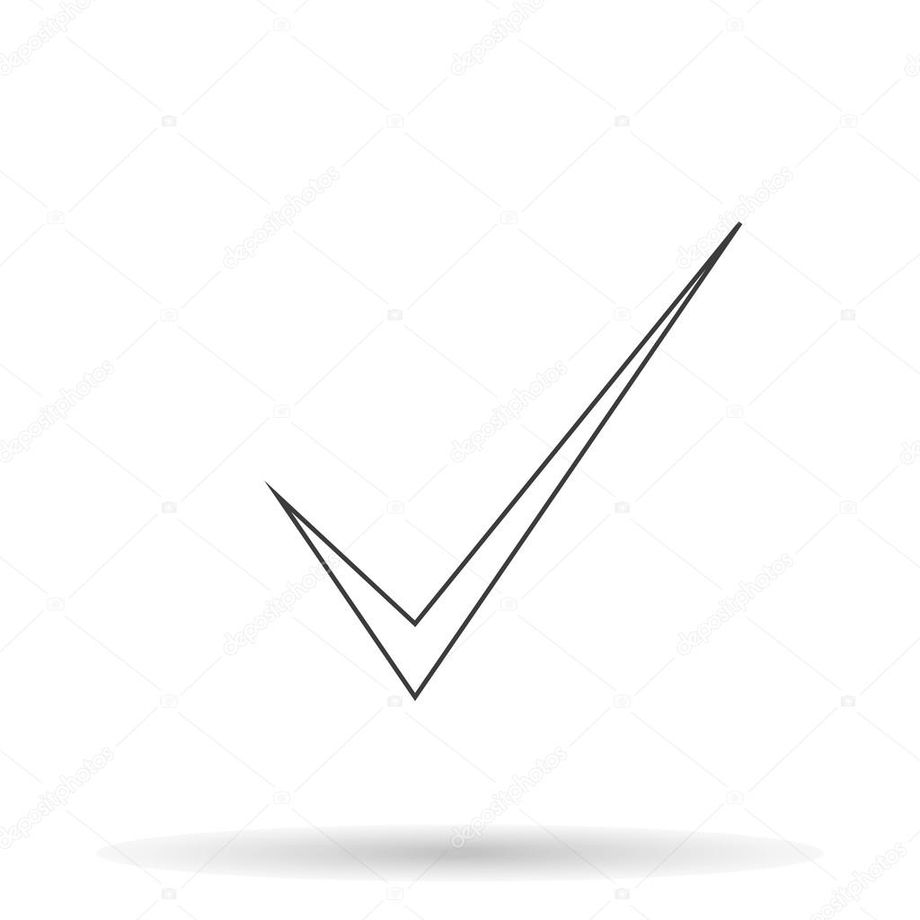 check mark icon with shadow on a white background vector