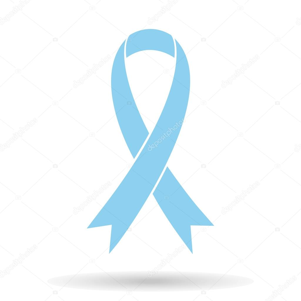 Blue Ribbon Breast Cancer Awareness Symbol Isolated On White