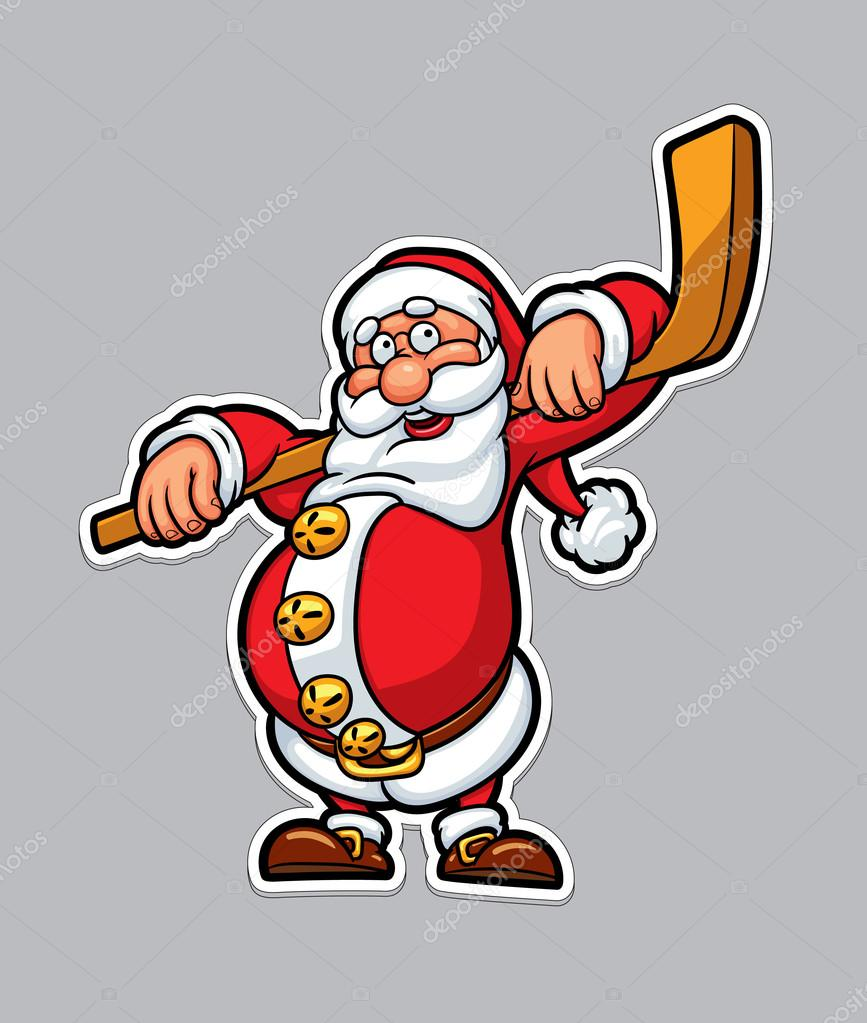 funny santa claus with a hockey stick christmas card background