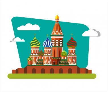 Welcome to Russia. St. Basils Cathedral on Red square - Vector flat illustration. Landscape design.
