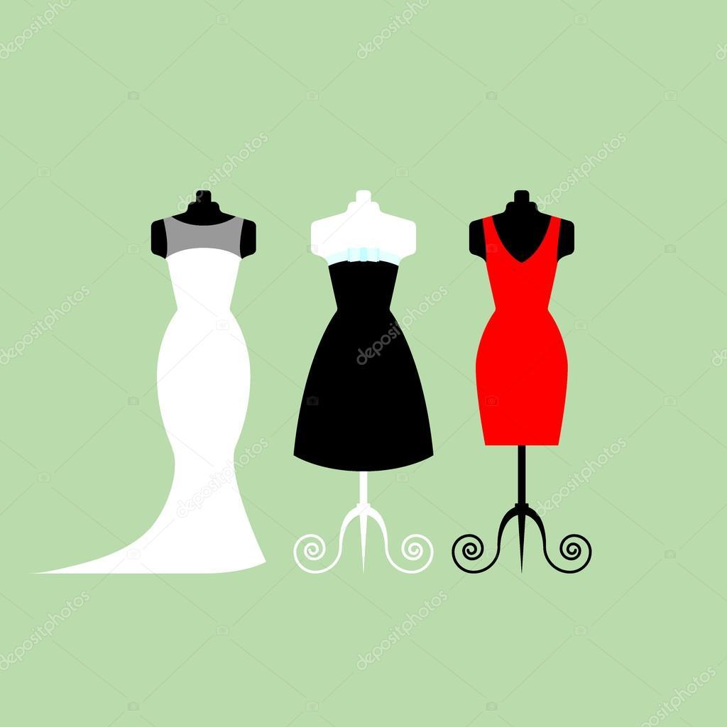 Vestidos de la tienda blanco y negro