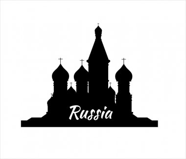 Welcome to Russia. Silhouette St. Basils Cathedral on Red square - vector stock flat illustration. Landscape design.