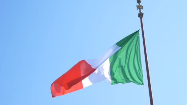 Waving Italy flag on pole