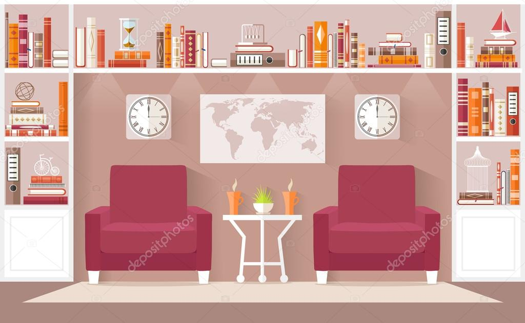 Interior design living room vector illustration. — Stock Vector ...