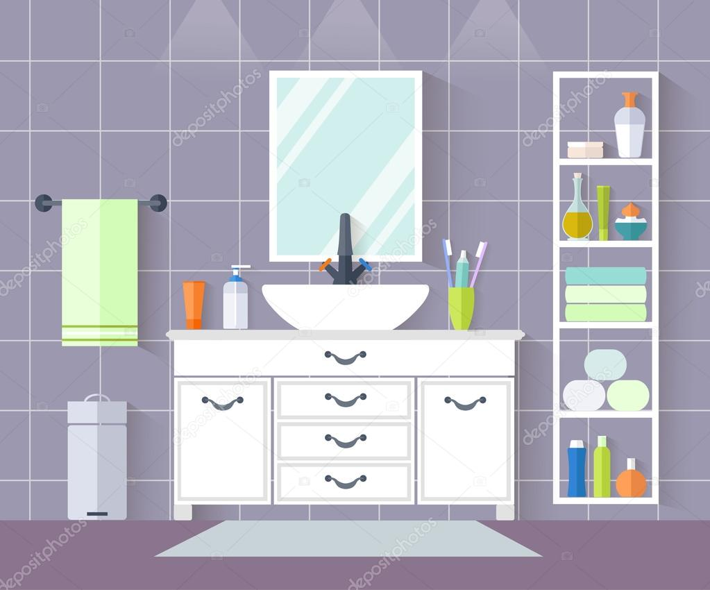 Vector bathroom. Interior design with furniture in flat style. 11
