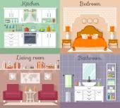 Design interiéru. Vektor jejich místnosti