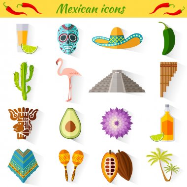 Set of traditional national symbols of Mexico