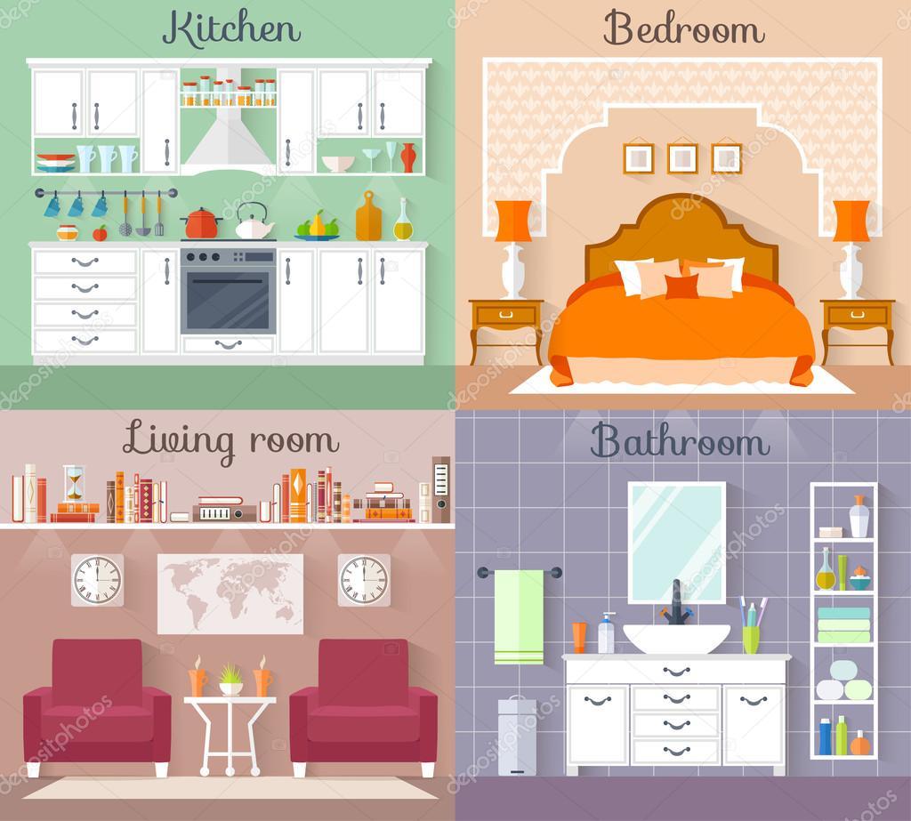 Design d\'interni. Set di camere vettoriale. — Vettoriali ...