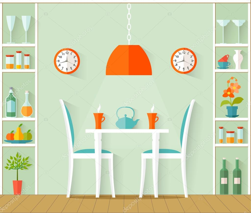 Interior Design Of The Dining Room Vector Illustration Stock Vector C Kurmanstock Gmail Com 122869812
