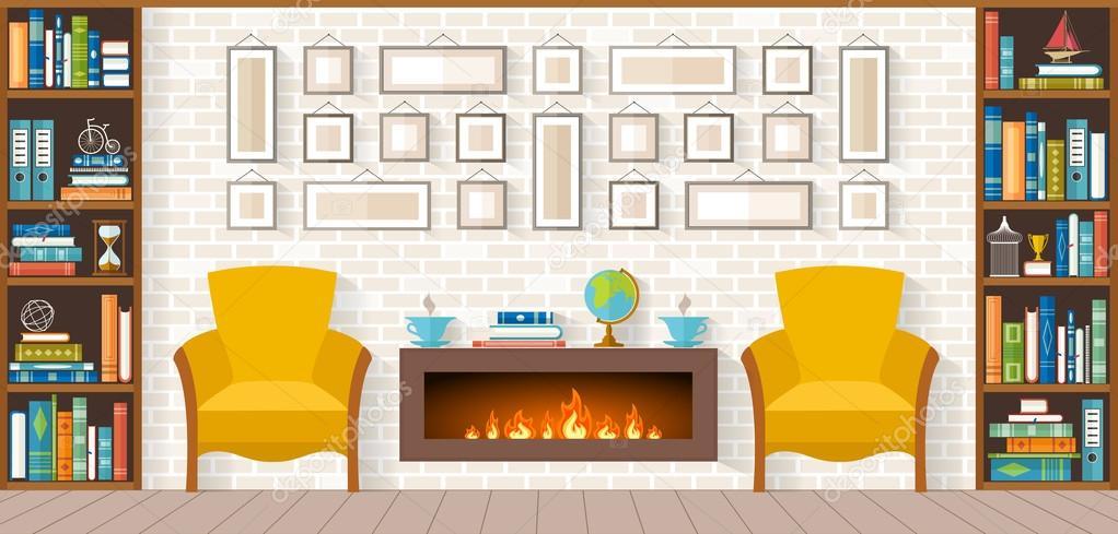 Design Wohnzimmer Mit Kamin Vektor Illustration Stockvektor