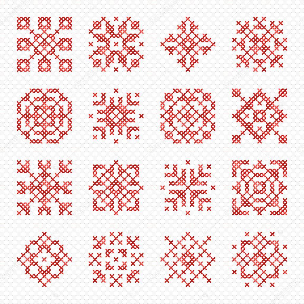 Conjunto De Vector Cruz Puntada Copos De Nieve Y Flores Archivo