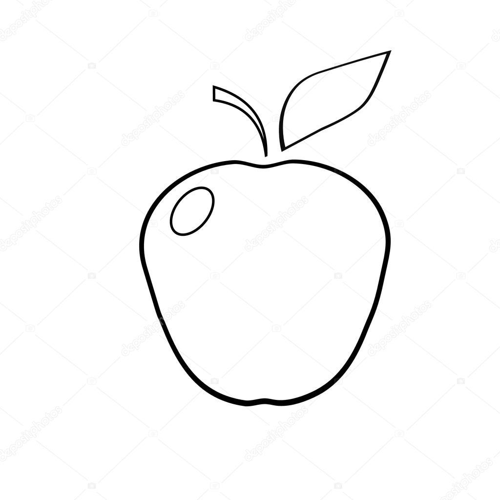 Beyaz Bir Arka Plan üzerinde Boyama Bir Elma Taslağını Stok Vektör