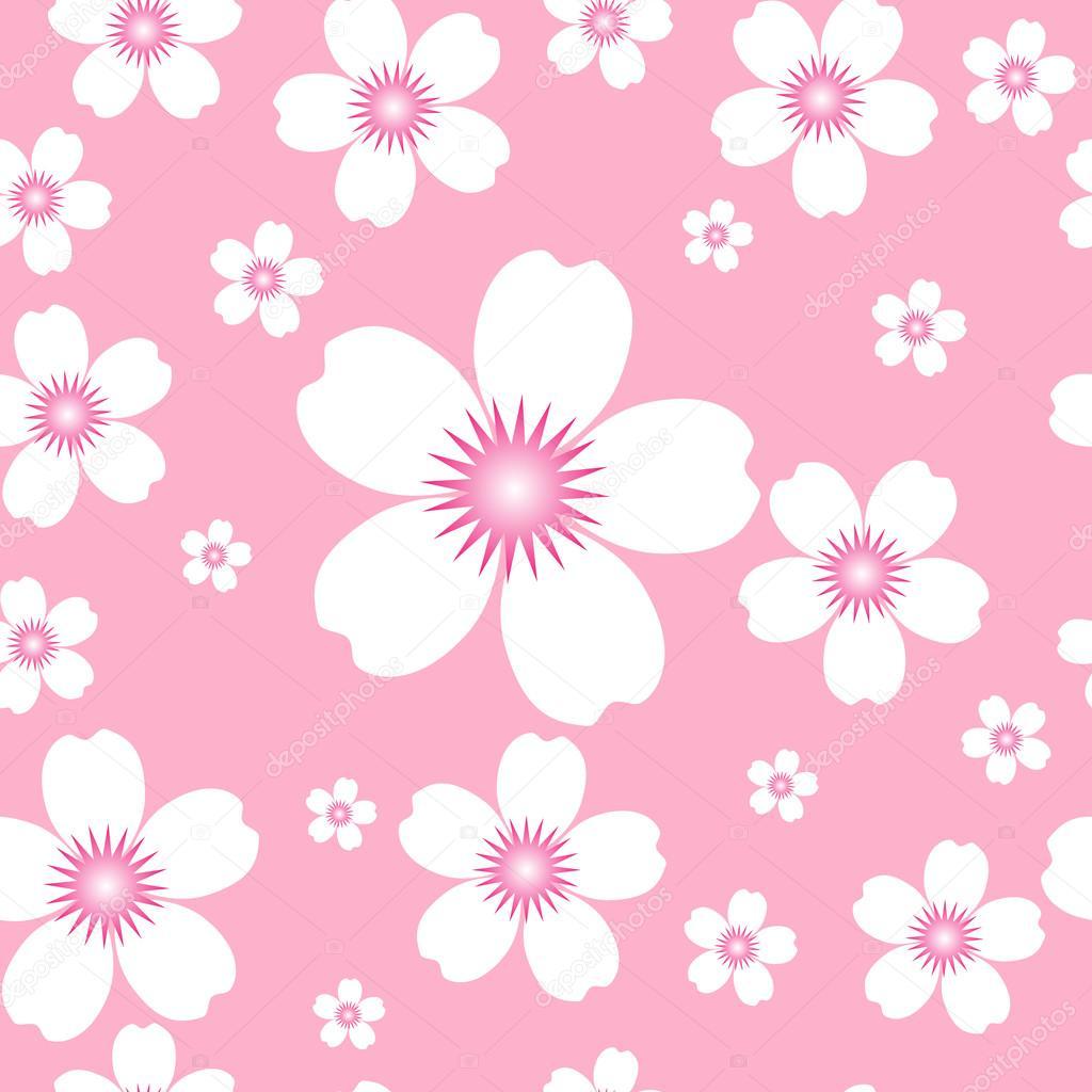 Patron Sin Fisuras De Flores Blancas Sobre Un Fondo Rosa Archivo