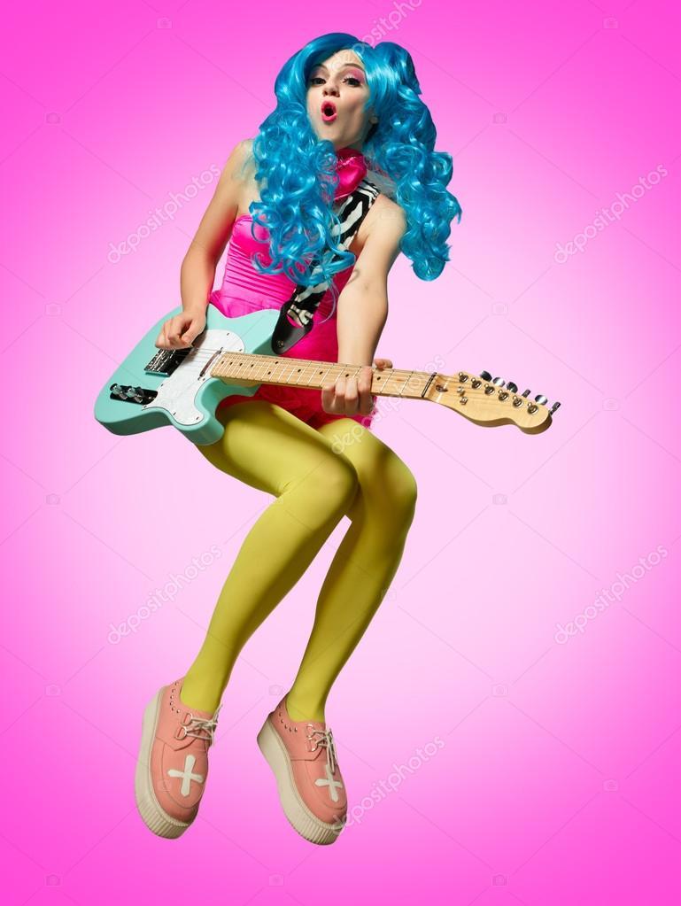 The Girl In Anime Style Guitar Playing Stock Photo C Onradi
