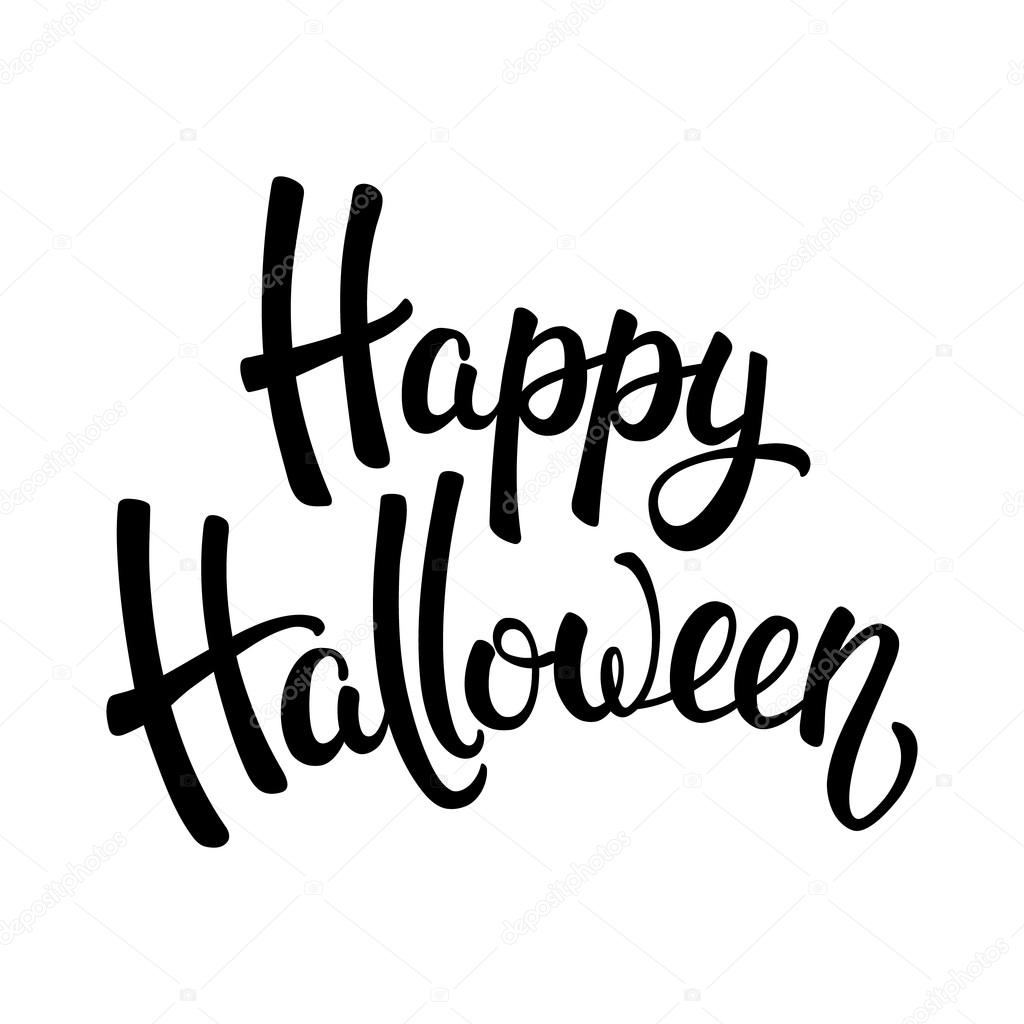Happy Halloween brush lettering. Black letters isolated on ...