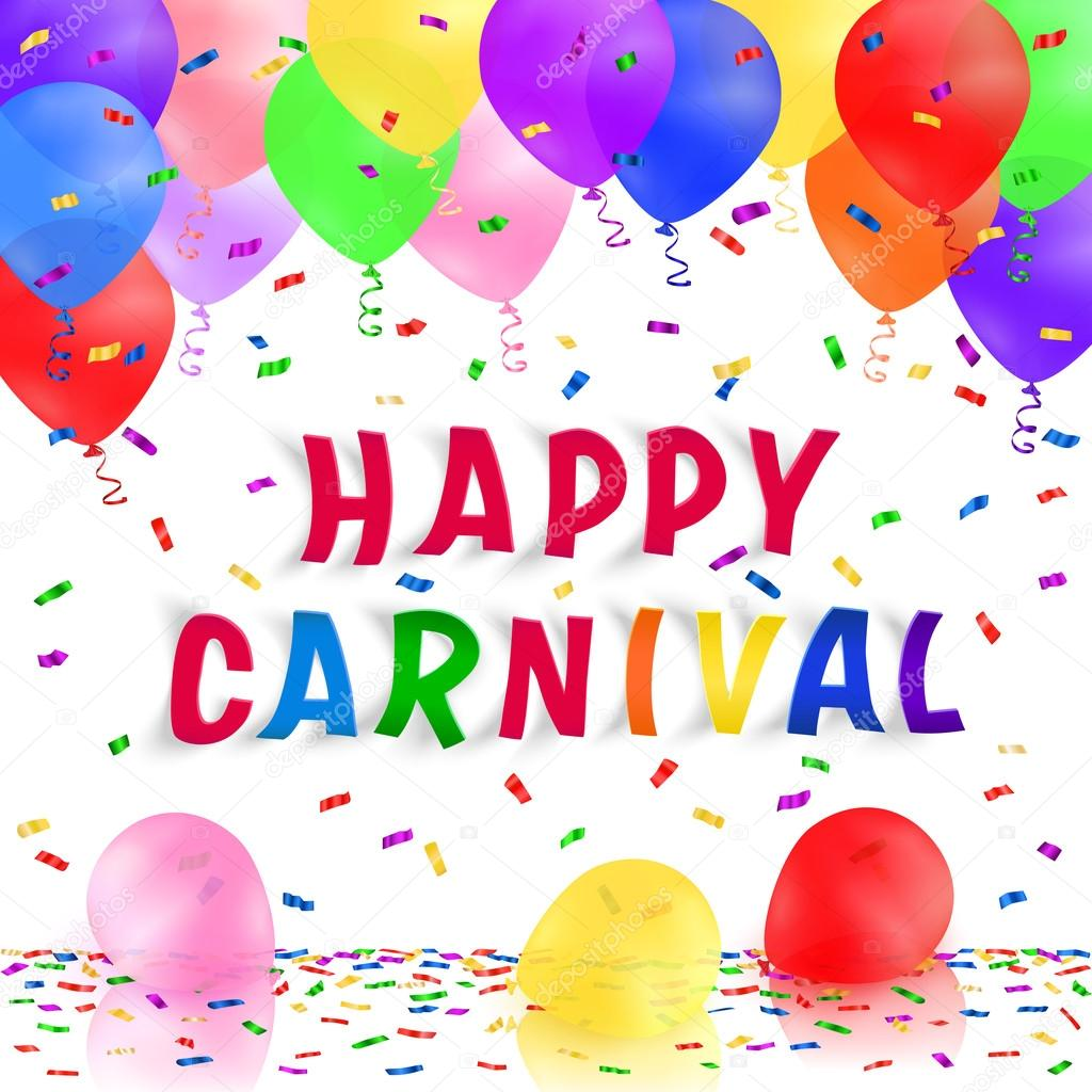 Carnival Background With Colorful Realistic Balloons And Confetti