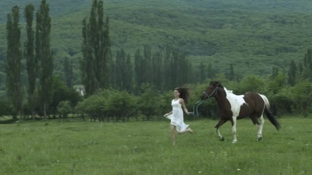 Young Beauty Running With A Horse