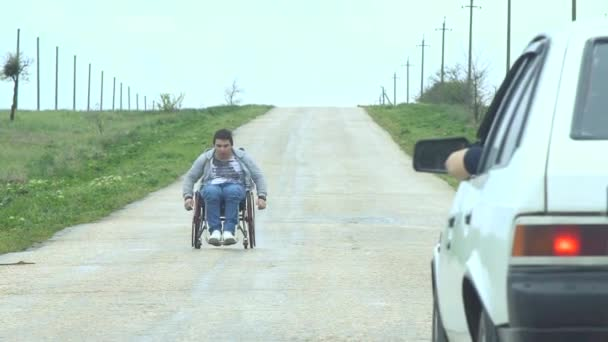 Traveling Man In Wheelchair Give Five